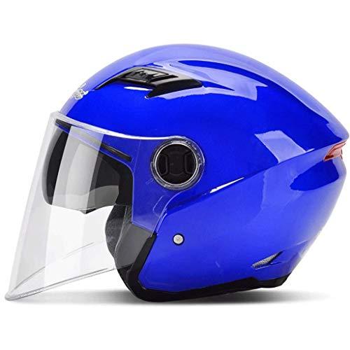 Unbekannt Outdoor-Sportarten Schutz Motorrad Elektro Auto Helm Männliche Batterie Auto Weibliche Vier Jahreszeiten Halbe Helm Halbmaske Doppel Objektiv Anti-Fog Helm (Color : J, Size : One Size) (Halbmaske Helm Motorrad)