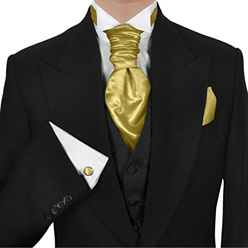 3- SET Plastron Krawatte☆fertig gebunden☆SATIN SEIDEN-OPTIK MICROFASER☆Gold Goldgelb☆BINDER☆Breite KRAVATTE zum ANZUG VERLOBUNG HOCHZEIT☆HERREN SCHLIPS☆Hochzeitskrawatte Manschettenknöpfe (Fertig Senf)