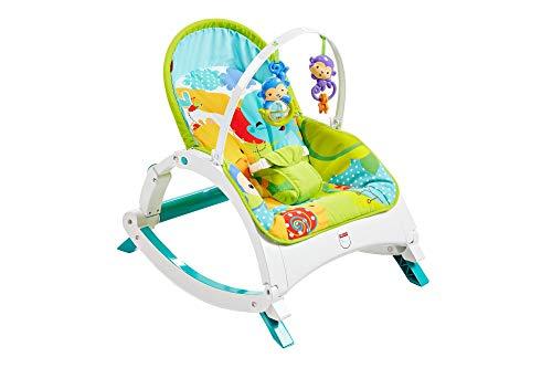 Fisher-Price Transat évolutif Amis de la Jungle 2-en-1 transat bébé et siège à bascule jeune enfant, jusqu'à 18 kg, CMR10