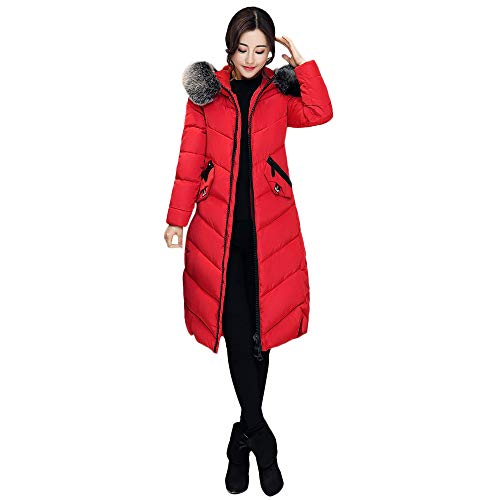 Damen Jacke Parka Mantel Winterjacke Warm MYMYG Frau Outerwear Button Coat Lange Baumwolle gefütterte Jacken Pocket Fur Hooded Coats(Rot,EU:42/CN-2XL)