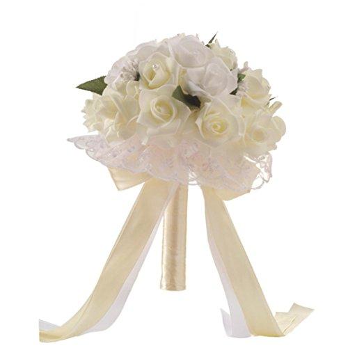 TIREOW Blumenstrauß Romantische Hochzeit Bunte Künstliche Hochzeitsstrauß Rosen Seidenblumen Seidenrosen Kunstblumen Blumen Brautstrauß der Braut (Weiß)