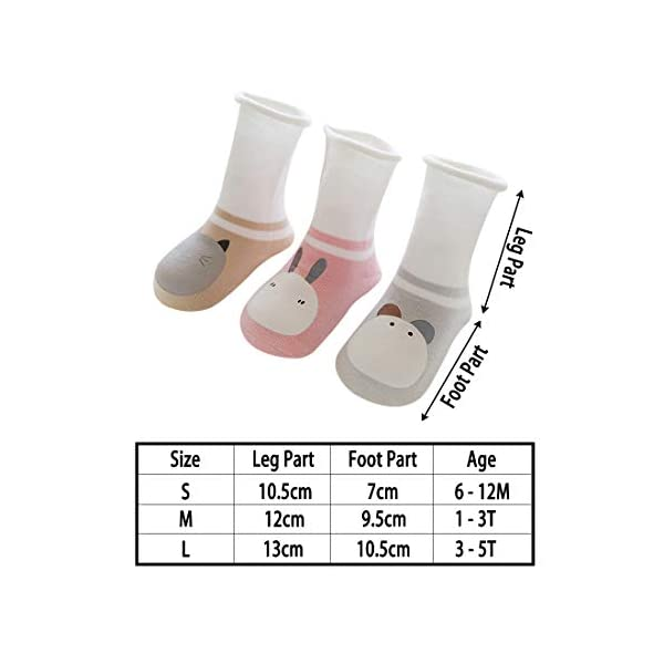 DEBAIJIA 3 Pares de Calcetines de Bebé Unisex Suave Elástico Calcetines Algodón Cálido Lindo Colorido Respirable… 4