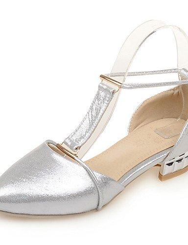 LFNLYX Scarpe Donna-Sandali-Matrimonio / Formale / Serata e festa-Comoda / A punta-Basso-Finta pelle-Blu / Argento / Dorato Silver