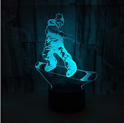 Creativo 3D Visual Skier Sci LED Night Light 7 colori Home Table Party Bar Decor Lampada Ragazzi Uomo Kids Favor Migliori regali