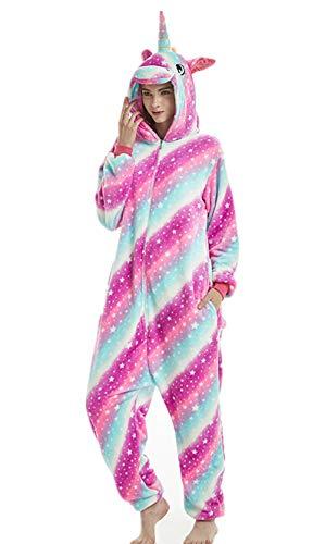 Tier Einhorn Pyjamas Cartoon Kostüm Jumpsuit Nachtwäsche Kinder Schlafanzug Erwachsene Unisex Fasching Cosplay Karneval, Star-4(erwachsene), S(Höhe150-160CM)