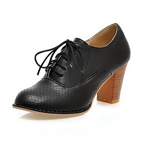 VogueZone009 Femme Rond Lacet Pu Cuir Couleur Unie à Talon Haut Chaussures Légeres Noir