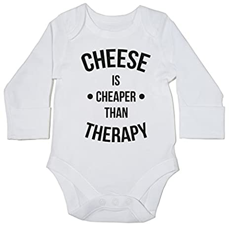 HippoWarehouse Cheese Is Cheaper Than Therapy baby bodysuit (long sleeve) boys girls