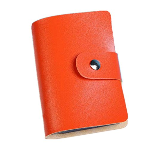 Holder Orange Business Card (Xjp Unisex Leather Credit Card Holder Wallet Business Card Case (Orange))