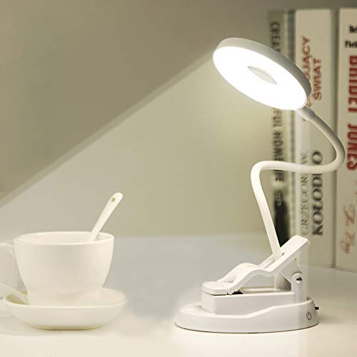 Xiaokoa lampada da tavolo a led,usb ricaricabile,luce notturna per camera da letto specchio per trucco,lampada da tavolo touch sensitive control e lampada a clip