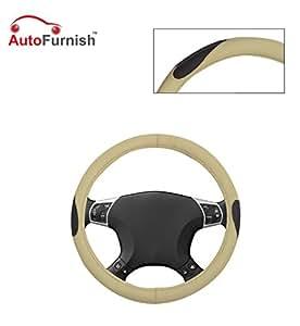 Autofurnish (AFSC-714 Russet Cream) Leatherite Car Steering Cover For Maruti Swift Dzire