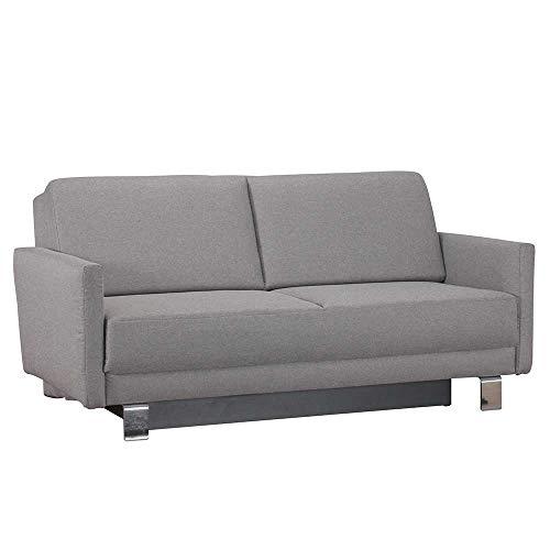 Pharao24 Bettcouch in Hellgrau Webstoff Armlehnen Breite 160 cm 3 Sitzplätze