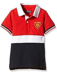 TOMMY HILFIGER KIDS - Colorblock Polo S/S, Camisa De Pijama de niños, rojo, 16