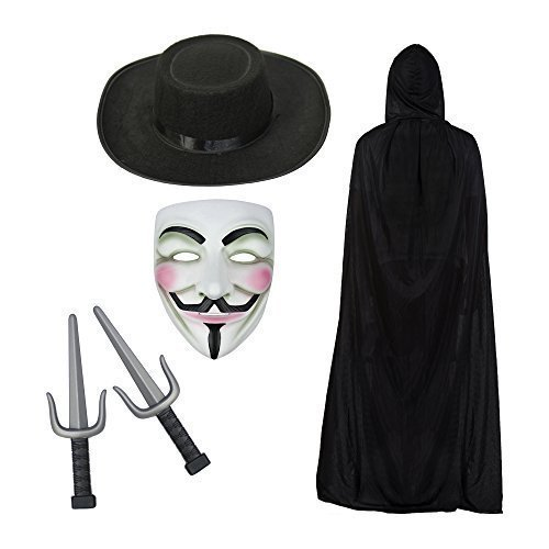 V for Vendetta Maske, Kapuze Cape, Hut & Sais Knives Modisches Kostüm-Set (Hut Kostüme Maske)