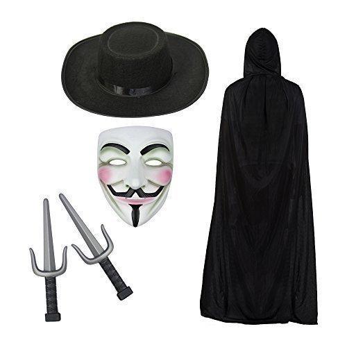 V for Vendetta Maske, Kapuze Cape, Hut & Sais Knives Modisches Kostüm-Set (V Vendetta Maske)