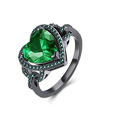 Gnzoe Schmuck Schwarz Mental Überzogen Damen Ringe Herz Form Trauringed Verlobungsringe Band Ring Grün Gr.54 (17.2)
