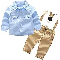 Ropa De Bebe,Ropa Bebe Recien Nacido,Infant Baby Boys Gentleman Camiseta Sólida Tops Tirantes Tirantes Pantalones Conjunto De Trajes