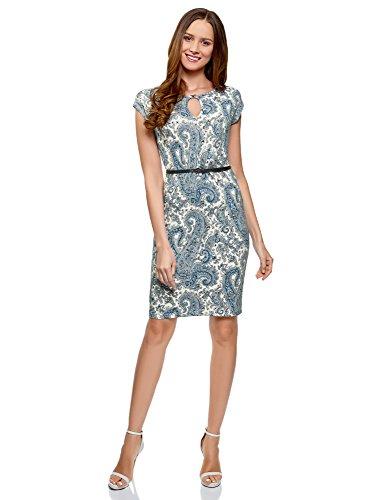 oodji Collection Damen Jersey-Kleid mit Gürtel, Weiß, DE 40/EU 42/L