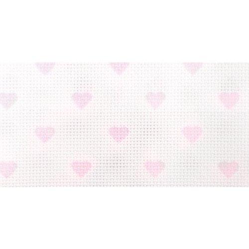 DMC Handarbeitsstoff mit Aufdruck, DC27C-Rose von Aida, 35,6 x 45,7 cm, Weiß mit babyrosafarbenen Herzen -