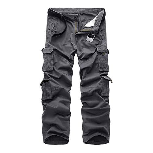 Xmiral Pantalones Cargo para Hombre Pantalones de Trabajo con Multibolsillos para Trabajo Viaje Deporte(ES 40-42,Gris)