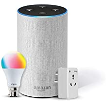 Amazon Echo (White) Bundle with Oakter 16A smart plug & Wipro 9W smart bulb