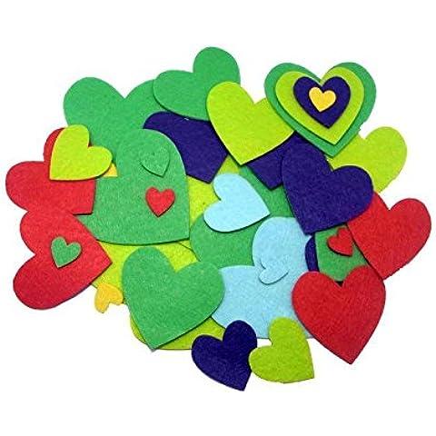 Adesivo feltro, motivo cuore, Sodertex, 150 pezzi