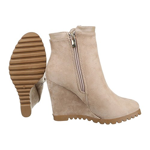 Plateau Schuhe Beige Wedge Damen Reißverschluss Stiefeletten Ital Keilabsatz Keilabsatz Keilstiefeletten design wx1gE5qC1