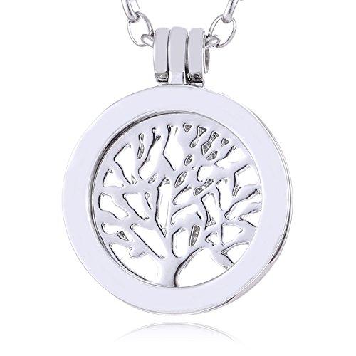 Morella Damen SMALL Coin 23 mm Halskette Edelstahl 70 cm Lebensbaum silber mit Schmuckbeutel