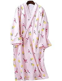 YTFOPLK Flamingo Fresco Batas De Baño Batas De Noche Mujer Tela De Buceo Japonesa Algodón Acolchado
