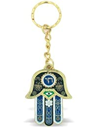 Blue Hamsa Chai Keyring With Evil Eye Protection Charm And Travelers Prayer Engraved In Hebrew