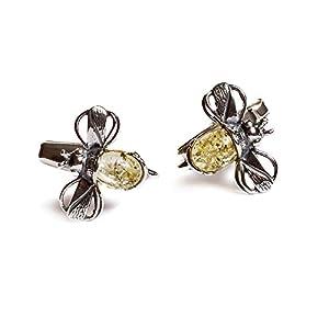 Bumble Bee Manschettenknöpfe in Silber und Gelb Bernstein