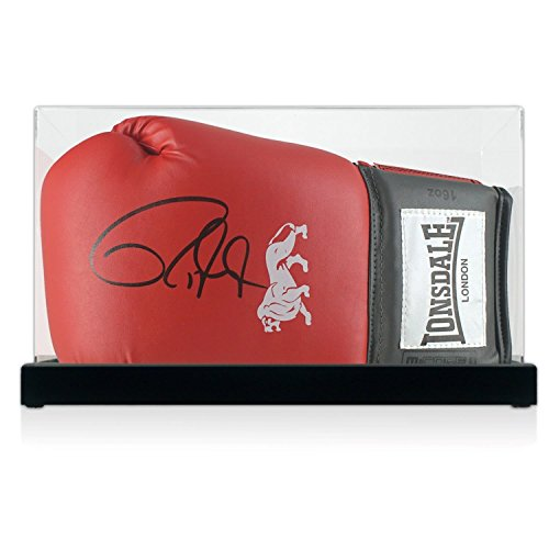 Exclusive Memorabilia Roter Boxhandschuh, signiert von Roy Jones Junior. In der Vitrine