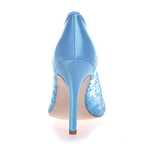 L@YC 0608-25 Femmina Tacco alto Punta Chiusa Pizzo Pompa Matrimonio Piattaforma Raso Corte Scarpe Blue
