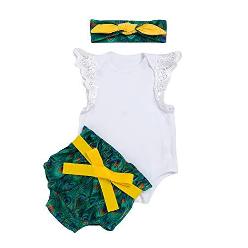 VENI MASEE Baby Mädchen Halloween Weihnachten Strampler und Shorts mit Stirnband Set,5 Farben(S-XL)