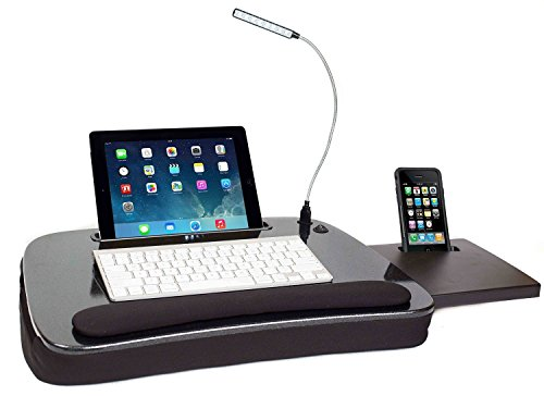 Sofia + Sam Multitasking Lap Desk mit Licht | Laptop Schreibtisch und Tablet Ständer | Reise Schreibtisch | Lapdesk Schwarz