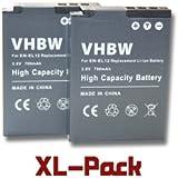 vhbw 2 x Li-Ion Batterie 700mAh (3.6V) pour appareil photo, caméscope Nikon CoolPix AW120, AW120s, AW130 comme EN-EL12.