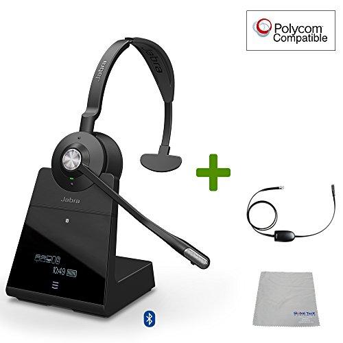 Polycom kompatible Jabra Engage 75 Wireless Headset Bundle mit EHS Adapter, 9556-583-125-PLY VVX und Soundpoint Telefone, Bluetooth, PC/MAC, USB, Skype for Business -