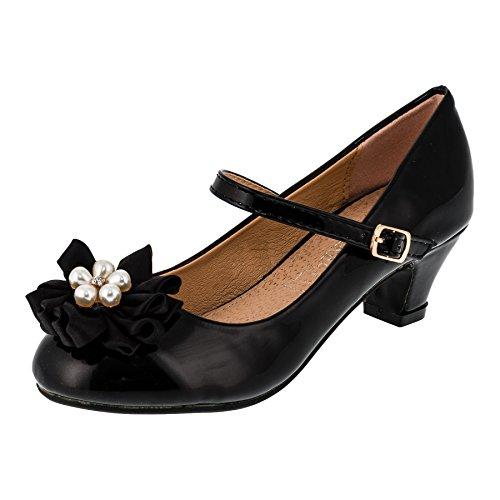6279da254b5918 Festliche Mädchen Ballerina Pumps Schuhe mit Echt Leder Innensohle und  Absatz M409sw Schwarz 35