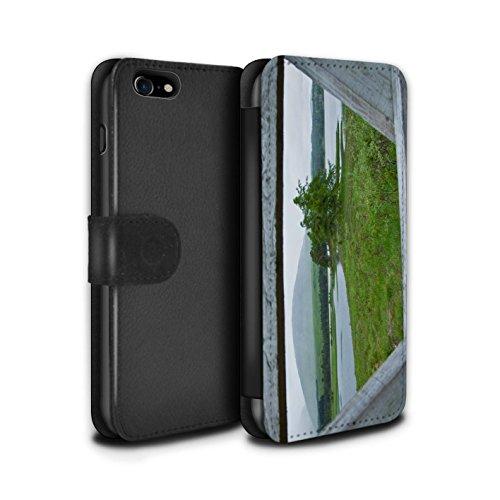 STUFF4 PU-Leder Hülle/Case/Tasche/Cover für Apple iPhone 7 / Tal Muster / Schottisch Landschaft Kollektion Zaun/See
