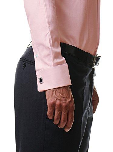 Herren Hemd Smoking Anzug Klassik Business Langarm Mit Fliege & Manschettenknöpfe Bügelleicht Hochzeit Feier Premium Cotton Slim Fit Shirt PR6615 Rose