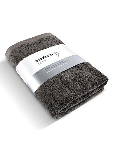 herzbach home Luxus Saunatuch Handtuch Premium Qualität aus 100% ägyptischer Baumwolle 86 x 200 cm 600 g/m² (Dunkelgrau)