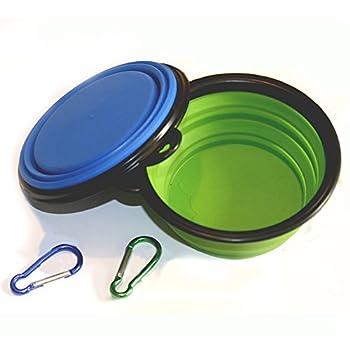 Gamelle pour Chien, Comsun Lot de 2 Pliable Extensible Bol pour Chien Chat Silicone BPA Approuvé par la FDA Eau Nourriture pour Animaux Domestique Portable Gamelle de Voyage + Gratuit Crochet - Bleu & Vert