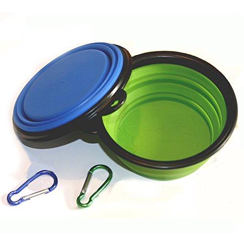 Comsun Hundennäpfe, Hundeschüssel Set, faltbar, Napf mit Schnalle, Silikon (2 stück, blau+grün A)