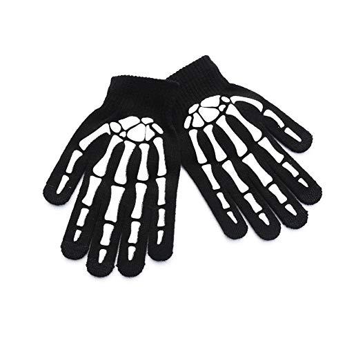 Guanti sportivi con teschio a lama - stampa antiscivolo guanti da equitazione caldi a maglia all'aperto