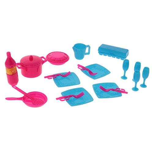 Sharplace 18-Teilig Puppenhaus Puppenstube Geschirr Set - Miniatur Teller Tasse Gericht Tool - 1:12 Puppen Haus Küche Zubehör