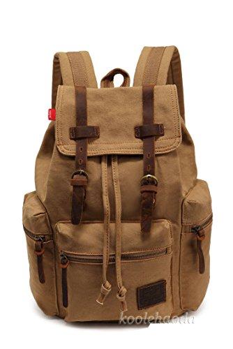 Imagen de koolehaoda vintage canvas bolsos/  viajes senderismo camping  senderismo bolsa de viaje laptop  bolso  escolar para outdoor sports tiempo libre, caqui