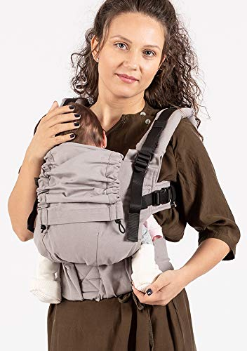 """ISARA The ONE Manhattan ISARA Super adjustable ergonomic carrier. Transitioning from newborn to preschooler is done in just one step. revolutionary """"two-is-better-than-one"""" functionality, allowing the wearer to ultra-adjust the carrier both in length and width. 100% organic cotton, canvas fabric, GOTS certified.Super-soft leg & arm padding for baby. Made of high-quality materials, from buckles, straps, webbings, and Velcro recognized even in the automobile industry for resistance and endurance. Detachable hood 3 wearing positions: front, back and hip. Shoulder straps can be rucksack or crossed on the back """"X'. 2"""
