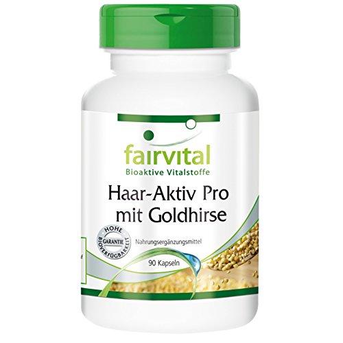 Haar-Aktiv Pro mit Goldhirse, Vitamin B5 und L-Cystin, Haarvitamine, vegan, 90 Kapseln