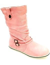 King Of Shoes Damen Stiefeletten Stiefel Boots Flache Schlupfstiefel Schuhe f48d27d8d7