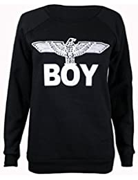 Womens New Army Boy Eagle Front Printed Ladies Long Sleeve Round Crew Neck Stretch Sweatshirt T-Shirt Top Black Size 12-14