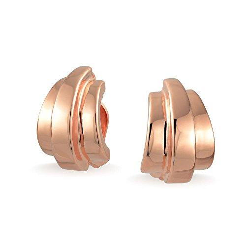 Geometrische Garnelen Hälfte Hoop Creolen Ohrclips Ohrringe Für Damen Nicht Durchstochene Ohren Rose Vergoldet Messing